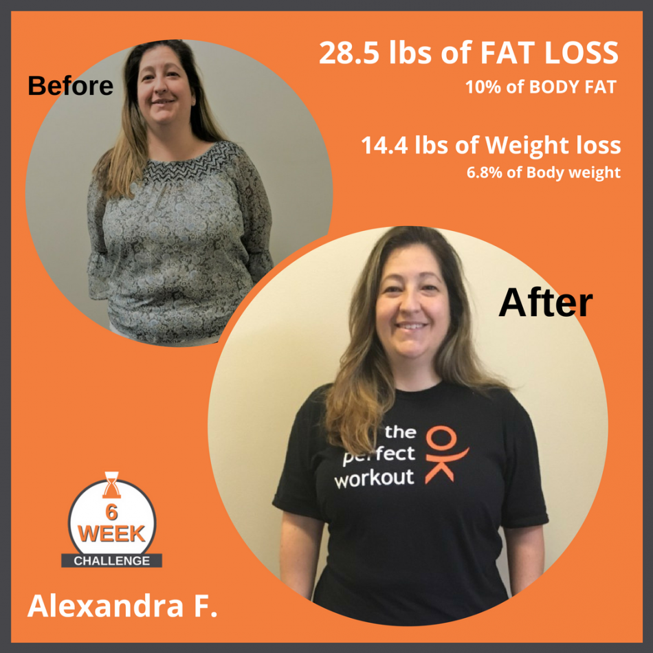 6 Week Challenge Alexandra F Fat loss Weight loss Before After